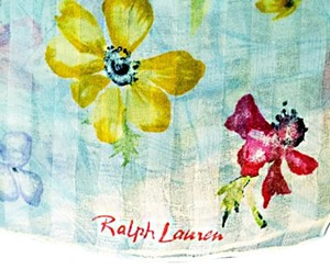 Ralph Lauren VINTAGE BLUE SEMI SHEER SILK TEXTURED FLORAL SCARF 15
