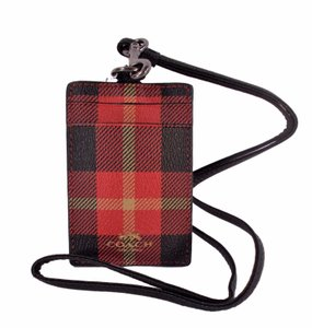Coach Holiday Red Plaid Lanyard ID Key Holder Card Case Wallet NWT F5599