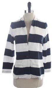Banana Republic Navy White Striped Blue Blazer
