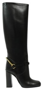 Gucci 353793 Womens Tess Leather Horsebit Tall Black Boots