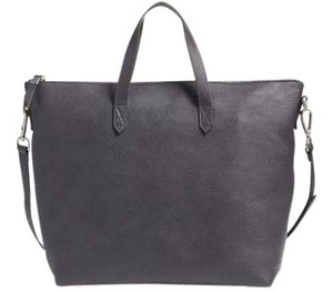 Madewell Classic Leather Zipper Satchel in Charcoal