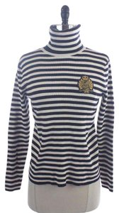 Ralph Lauren Navy Striped Crested Turtleneck Sweater