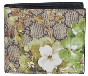Gucci Gucci Men's 408666 GG Supreme Coated Canvas BLOOMS Bifold Wallet