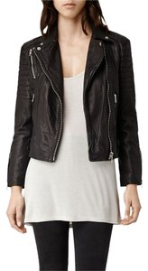 AllSaints Motorcycle Leather Cropped Biker Leather Jacket