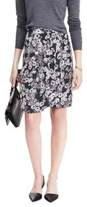 Banana Republic Navy Floral Ruched Skirt Multi-Color