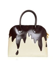 Moschino Vintage Rare Handle Dripping Chocolate Tote in brown