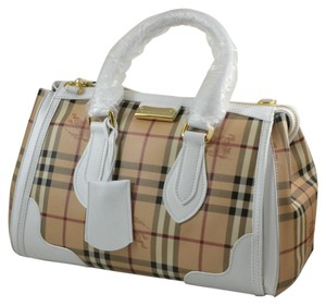 Burberry Haymarket New Satchel in White