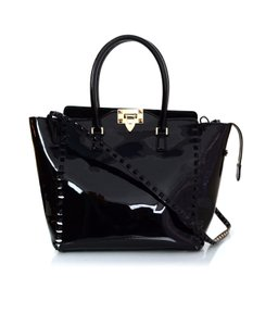 Valentino Studs Rockstud Patent Leather Tote in black
