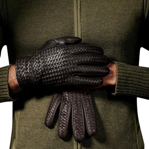 Hilts-Willard Hilts-Willard Men's Woven Billy Lambskin Gloves, Black, L