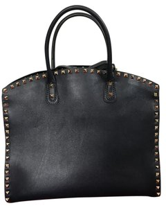 Valentino Leather Studded Zipper Strap Satchel in Navy Blue