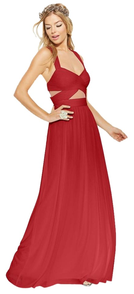 Betsy & Adam Sleeveless Illusion Cutout Gown Red Long Formal Dress ...