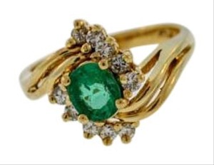Other Vintage Emerald And Diamond Journey Ring- 14k Yellow Gold