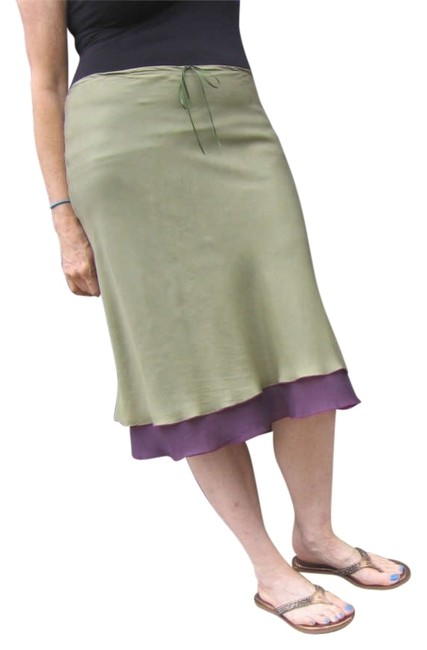 Other Flowy Silk Layered Skirt Moss Green & Plum