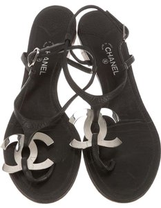Chanel Interlocking Cc Embellished Ankle Strap Chain Silver Hardware Black, Silver Sandals