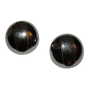 Lanvin Lanvin Silver Tone Abstract Retro Inspired Dome Earrings