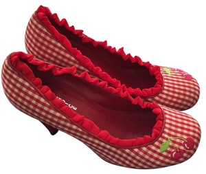 Irregular Choice Red gingham with cherry embroidery Pumps