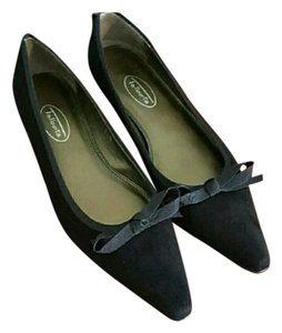 Talbots Pointy Toes Bows Suede Black Flats