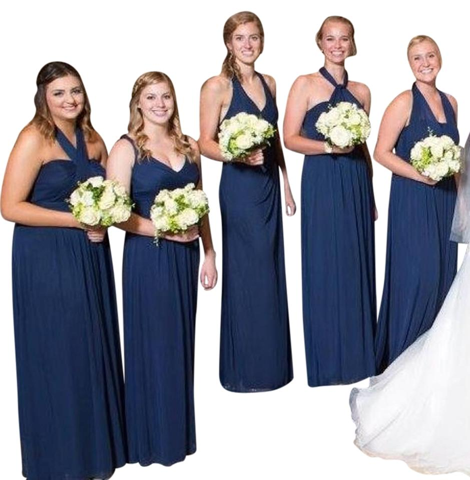 4c7458f4501 David s Bridal Marine Navy Blue Versa Convertible Mesh Long Formal ...