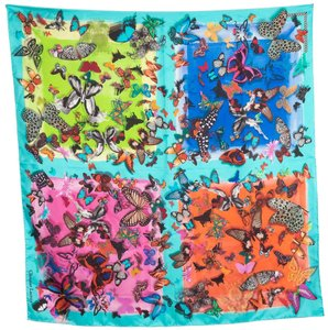 Christian Lacroix NWT Bright Multi Color Butterfly Print Scarf