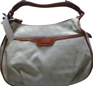 Dooney & Bourke D&b Canvas Leather Trim E/w Collins Satchel in Lite Blue with Cream