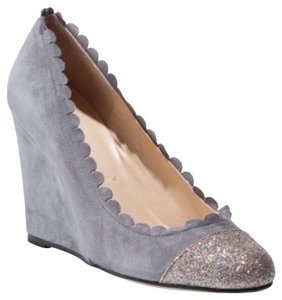 Butter Wedge Suede Gray Glitter Wedges