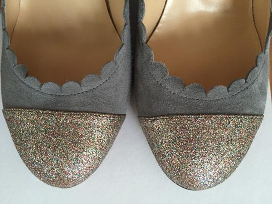 Butter Suede Gray Glitter Wedges