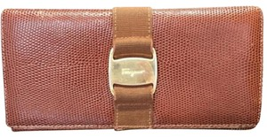 Salvatore Ferragamo Brown Lizard Skin Leather Bifold Long Wallet Purse SFTL01