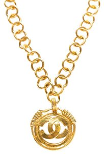 Chanel Gold-Tone CC Medallion Link Necklace