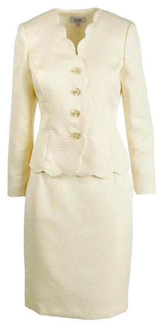 Item - Yellow Womens City Blooms 2pc Scalloped Petite Skirt Suit Size 12 (L)