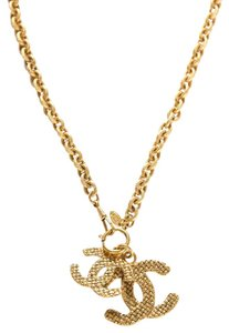 Chanel Chanel Gold-Tone Double CC Pendant Necklace