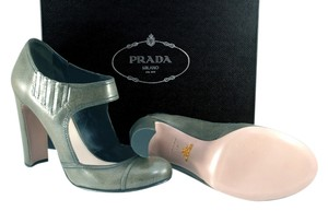Prada Italy Dressy Leather Ankle Strap Classic No Buckles Business olive green Pumps
