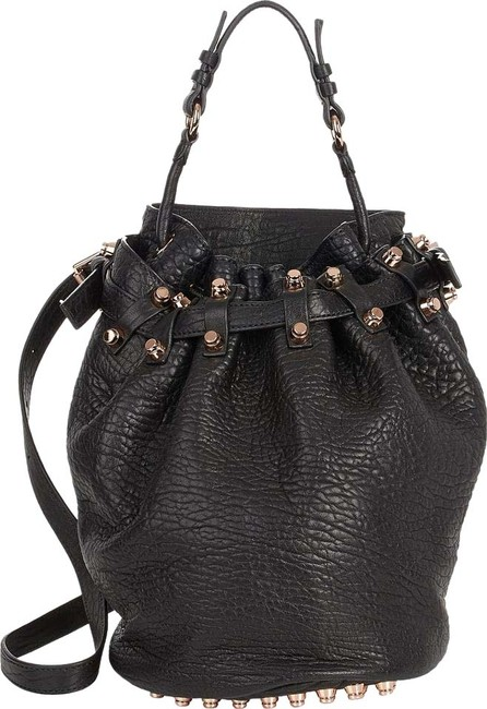 Item - New Full Size Diego Lamb Black Rose Gold Studs Lambskin Leather Shoulder Bag