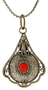 Other Antique Coral Stone Tear Drop Pendant Necklace- Sterling Silver