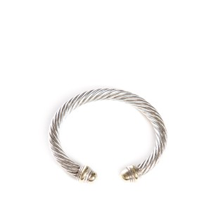 David Yurman Sterling Silver & 14k Gold Large Cable Cuff