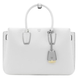 MCM Satchel in Cloud Dancer White