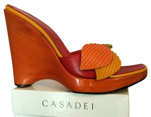 Casadei Red Yellow Size 7.5 Orange Wedges