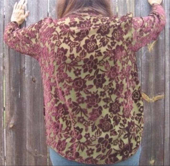 Citron Laser Cut Velvet Top Olive Green & Burgundy