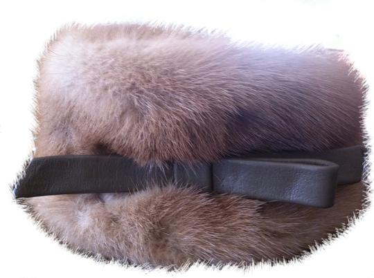 Custom-Made Vintage Natural Mink Hat With Leather Bow