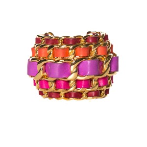 Chanel Chanel Gold & Pink Curb Chain Bracelet