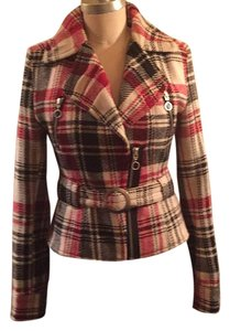 Express black, red, cream, plaid. Blazer