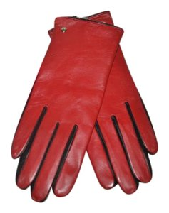 Kate Spade NWT KATE SPADE 2BTL LEATHER GLOVE W TOUCH TIP RED BLACK GLOVES M