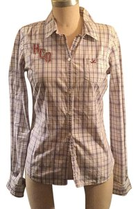 Hollister Button Down Shirt white & navy plaid with burgundy / grey stitching detail.