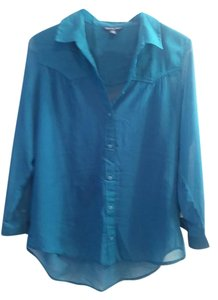 American Eagle Outfitters Teal Semi Sheer Aeo Top Blue Green