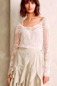 Anthropologie Everleigh Snowblossom Lace Top Ivory