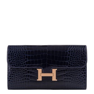 Hermès Hermes Blue Marine Alligator Constance Long Clutch Wallet