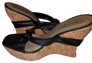 Jessica Simpson Black-and-cork Wedges