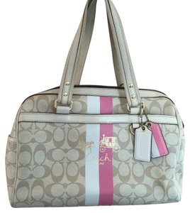 Coach Satchel in gold with pink stripe