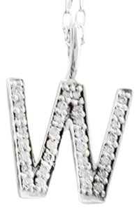"Red Envelope RED ENVELOPE DIAMOND INITIAL ""W"" 925 STERLING SILVER PENDANT NECKLACE"