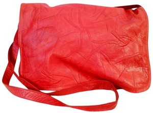 Carlos Falchi Leather Vintage Messenger Red Messenger Bag