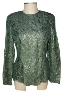 Alfred Sung Lace Formal Holiday Top green